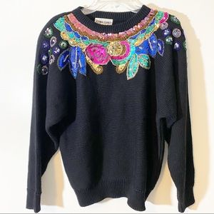 Grannycore Alfred Dunner Sequin Sweater Large